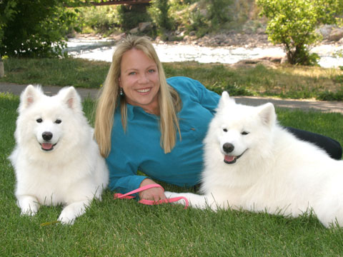 Ginger Jenks with Samoyeds